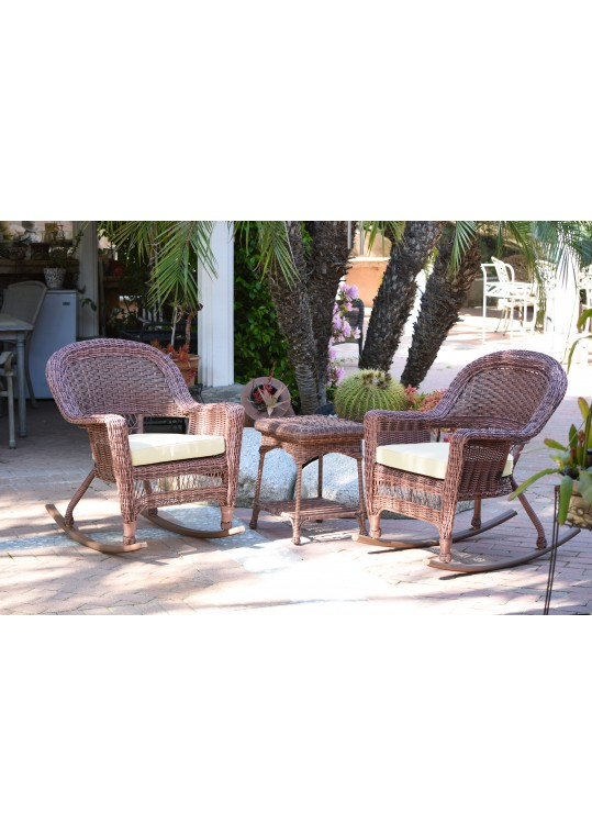 3pc Honey Rocker Wicker Chair Set With Ivory Cushion