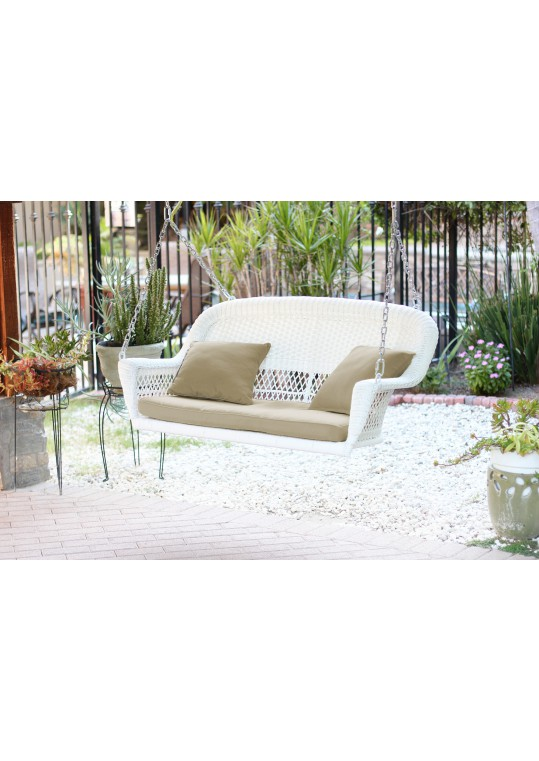 White Resin Wicker Porch Swing with Tan Cushion