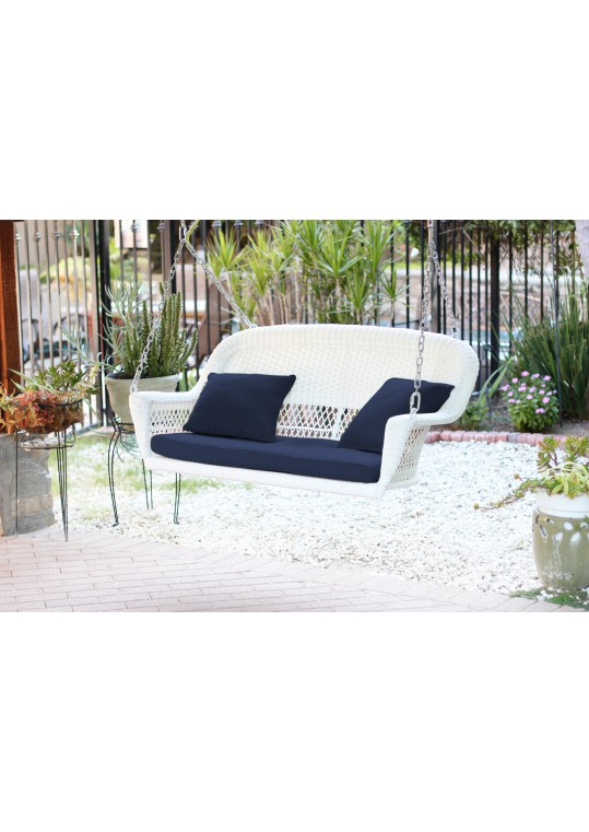 White Resin Wicker Porch Swing with Midnight Blue Cushion