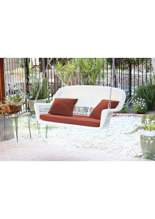 White Resin Wicker Porch Swing with Brick Red Cushion