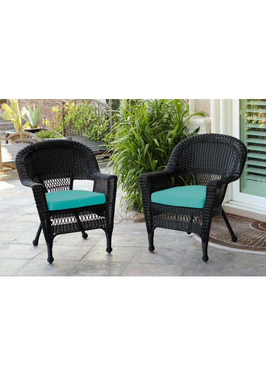 Black Wicker Chair With Turquoise Cushion - Set of 2