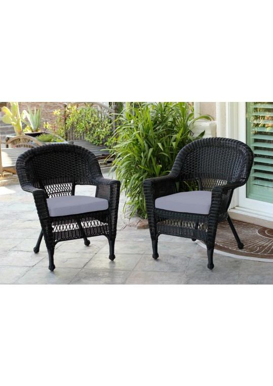 Black Wicker Chair With Steel Blue Cushion - Set of 2
