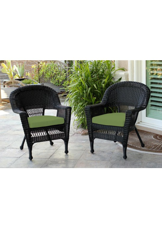 Black Wicker Chair With Hunter Green Cushion - Set of 2