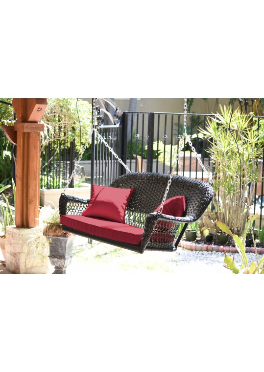 Black Resin Wicker Porch Swing with Red Cushion