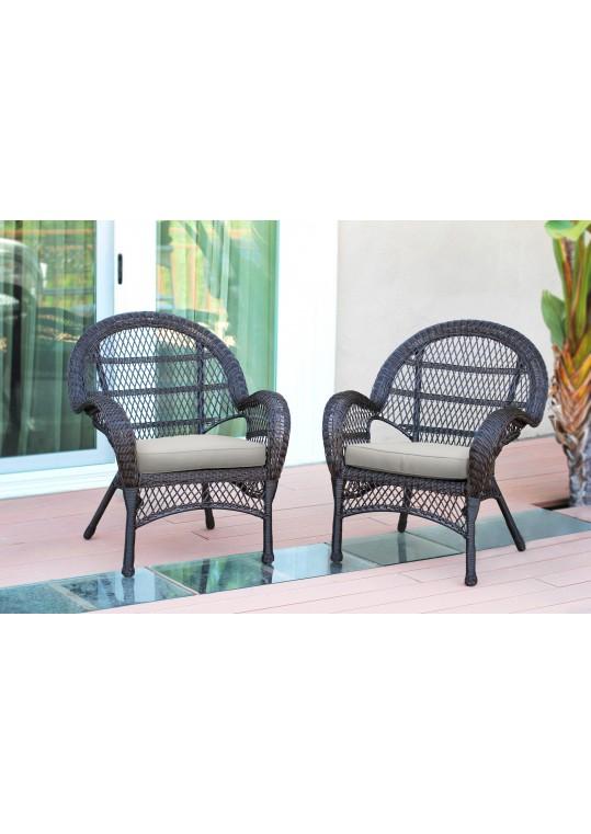 Santa Maria Espresso Wicker Chair with Ivory Cushion - Set of 2