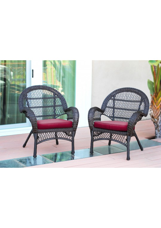 Santa Maria Espresso Wicker Chair with Red Cushion - Set of 2