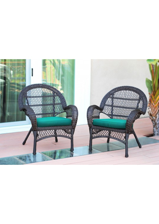 Santa Maria Espresso Wicker Chair with Turquoise Cushion - Set of 2