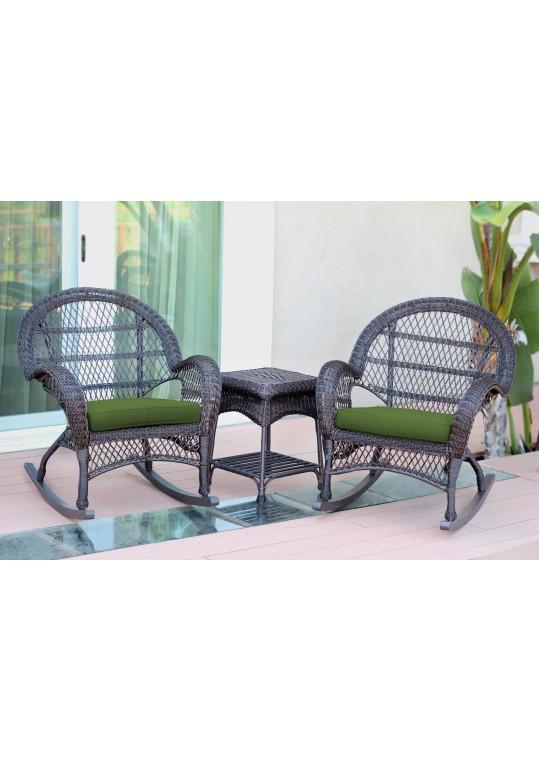 3pc Santa Maria Espresso Rocker Wicker Chair Set - Hunter Green Cushions