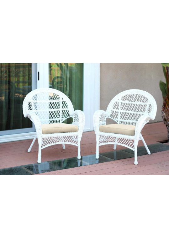 Santa Maria White Wicker Chair with Ivory Cushion - Set of 2