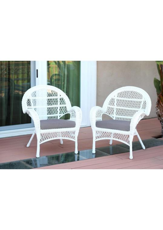 Santa Maria White Wicker Chair with Steel Blue Cushion - Set of 2