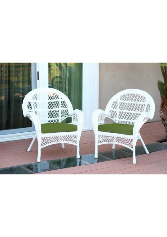 Santa Maria White Wicker Chair with Hunter Green Cushion - Set of 2