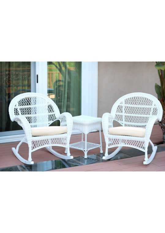 3pc Santa Maria White Rocker Wicker Chair Set - Ivory Cushions
