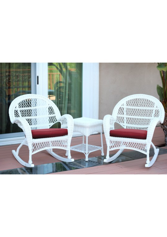3pc Santa Maria White Rocker Wicker Chair Set - Red Cushions