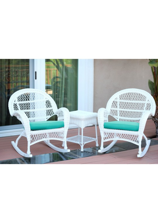 3pc Santa Maria White Rocker Wicker Chair Set - Turquoise Cushions