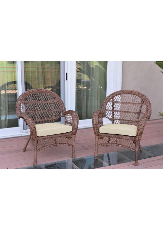 Santa Maria Honey Wicker Chair with Ivory Cushion - Set of 2