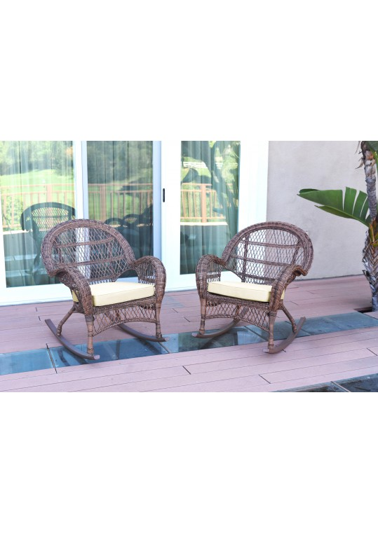 Santa Maria Honey Wicker Rocker Chair with Ivory Cushion - Set of 2