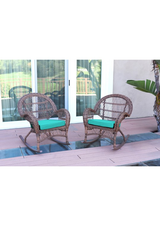 Santa Maria Honey Wicker Rocker Chair with Turquoise Cushion - Set of 2