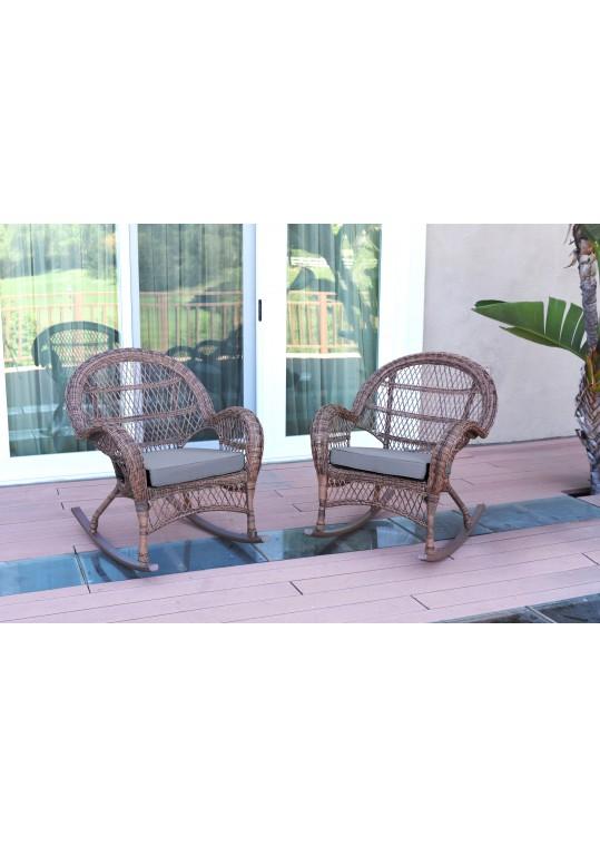 Santa Maria Honey Wicker Rocker Chair with Steel Blue Cushion - Set of 2