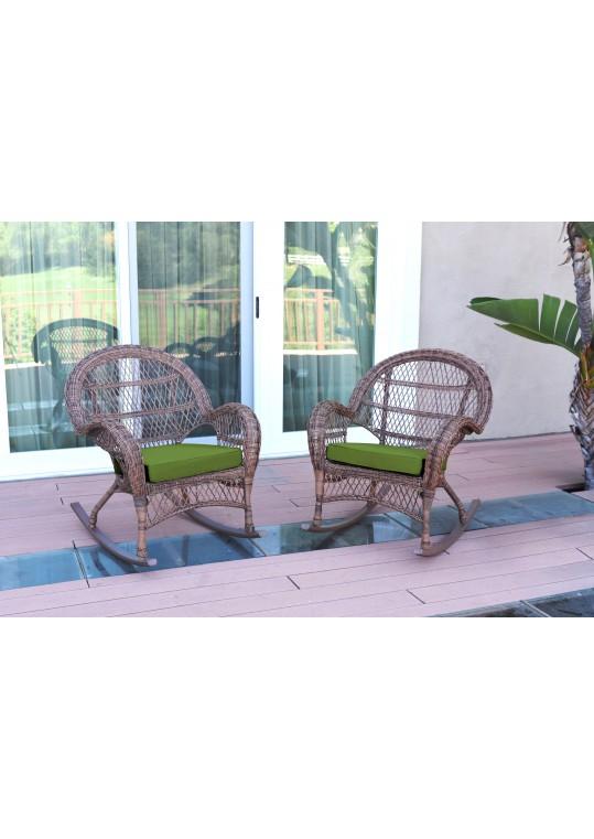 Santa Maria Honey Wicker Rocker Chair with Hunter Green Cushion - Set of 2
