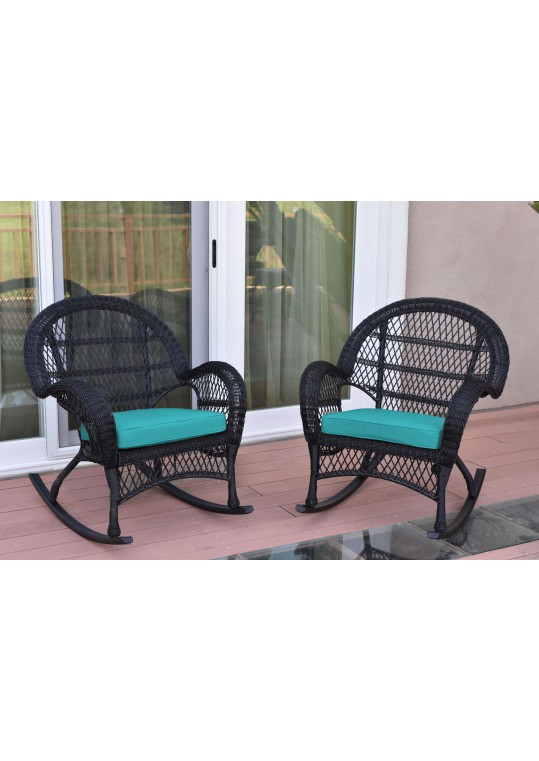 Santa Maria Black Wicker Rocker Chair with Turquoise Cushion - Set of 2