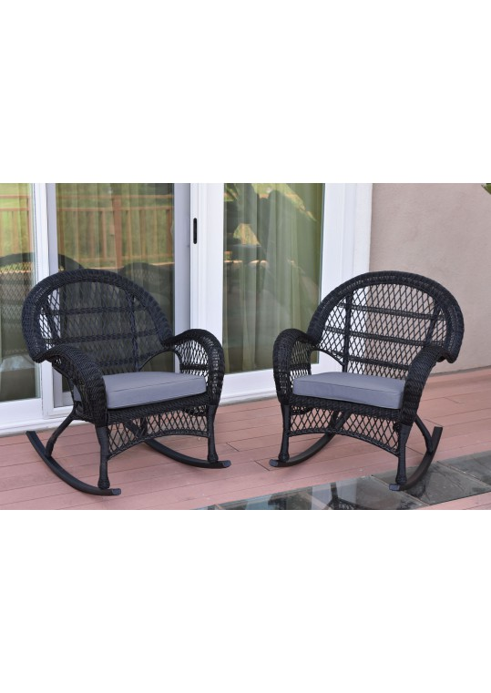 Santa Maria Black Wicker Rocker Chair with Steel Blue Cushion - Set of 2