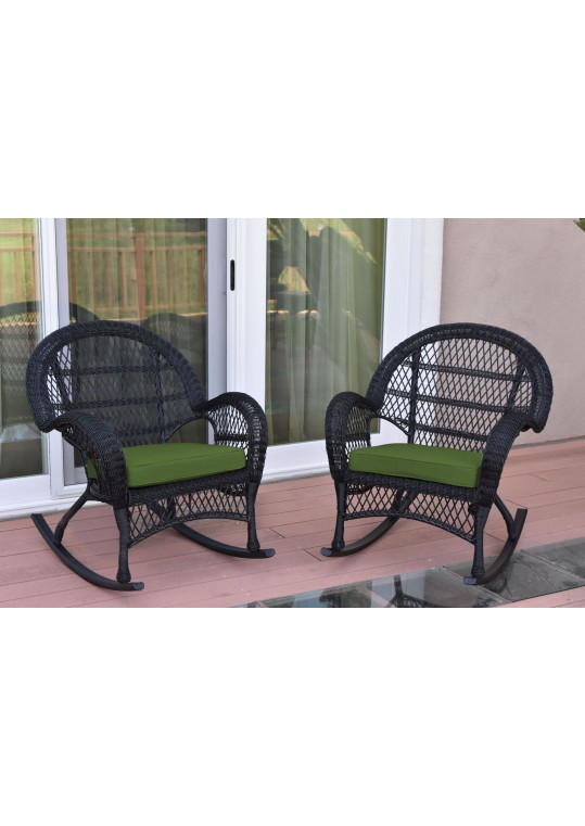 Santa Maria Black Wicker Rocker Chair with Hunter Green Cushion - Set of 2