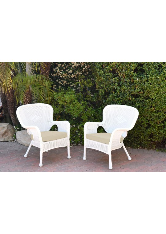 Set of 2 Windsor White Resin Wicker Chair with Ivory Cushion