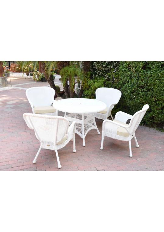 5pc Windsor White Wicker Dining Set - Ivory Cushions