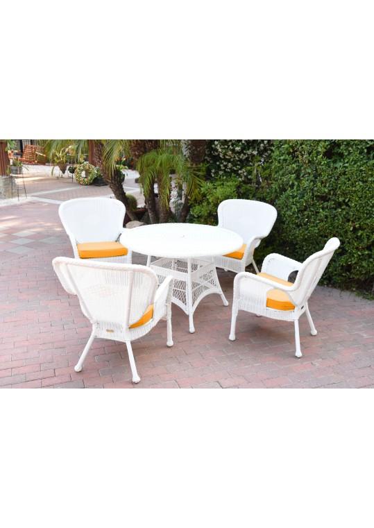 5pc Windsor White Wicker Dining Set - Mustard Cushions