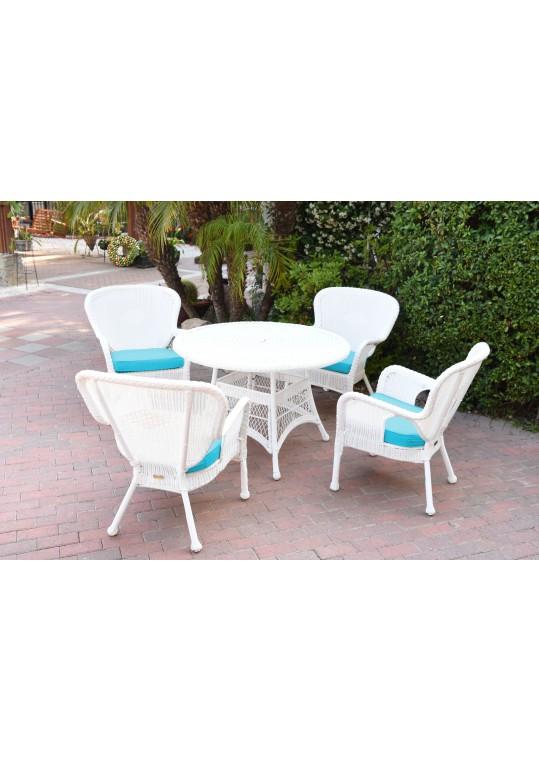 5pc Windsor White Wicker Dining Set - Sky Blue Cushions