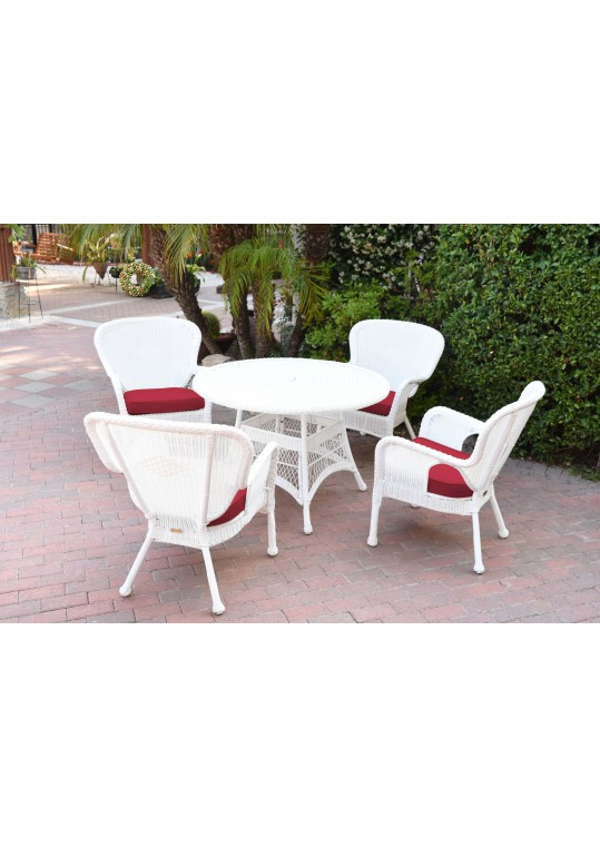 5pc Windsor White Wicker Dining Set - Red Cushions