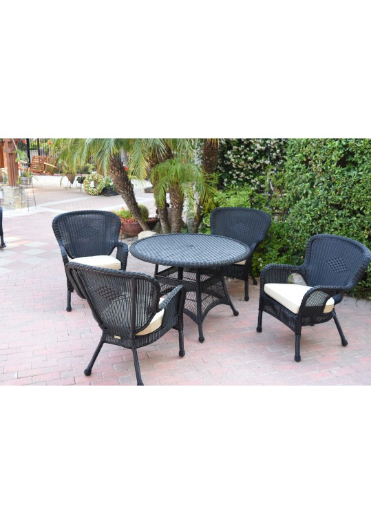 5pc Windsor Black Wicker Dining Set - Ivory Cushions