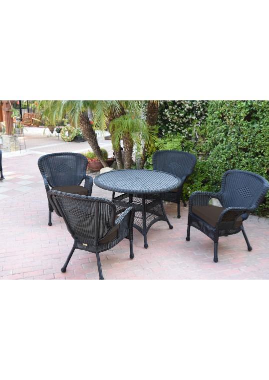 5pc Windsor Black Wicker Dining Set - Brown Cushions