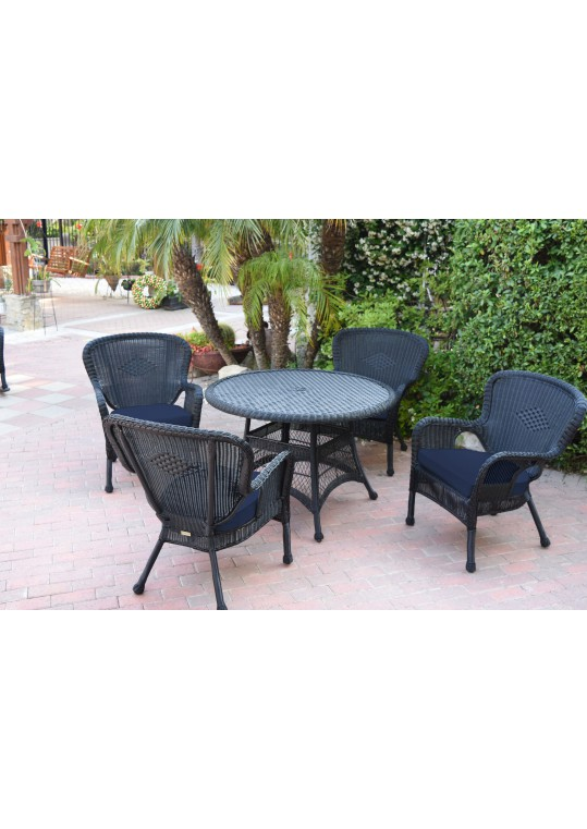 5pc Windsor Black Wicker Dining Set - Midnight Blue Cushions