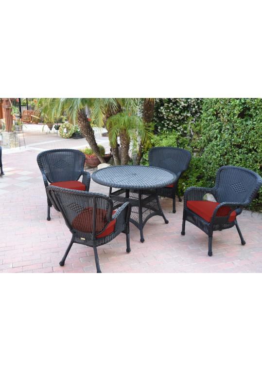 5pc Windsor Black Wicker Dining Set - Brick Red Cushions