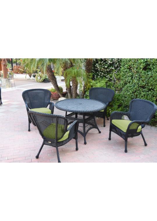 5pc Windsor Black Wicker Dining Set - Sage Green Cushions