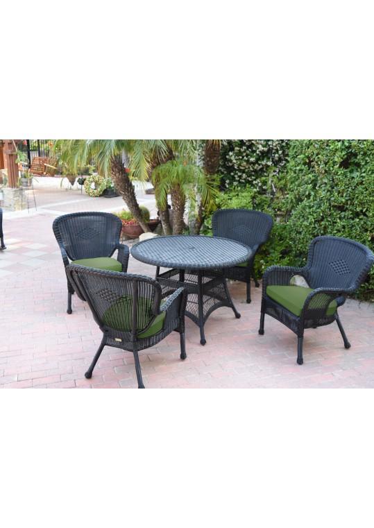 5pc Windsor Black Wicker Dining Set - Hunter Green Cushions