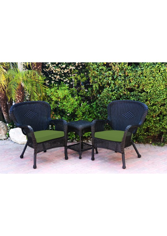Windsor Black Wicker Chair And End Table Set With Hunter Green Chair Cushion