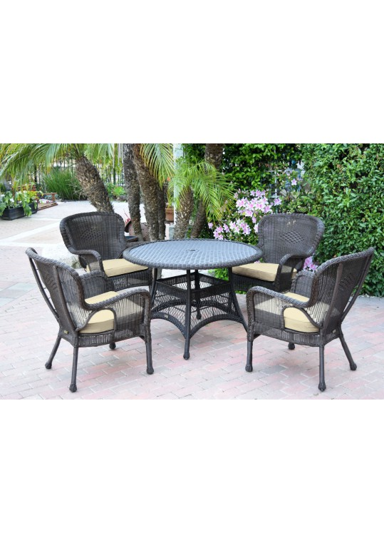 5pc Windsor Espresso Wicker Dining Set with Ivory Cushions
