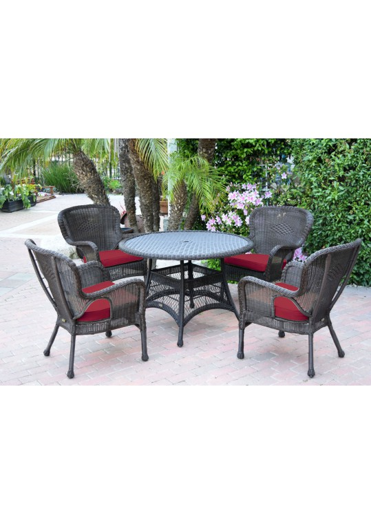 5pc Windsor Espresso Wicker Dining Set with Red Cushions