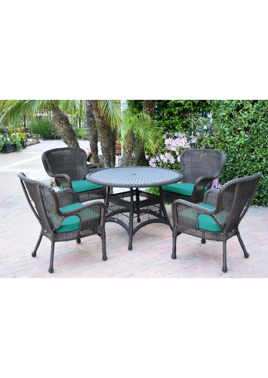 5pc Windsor Espresso Wicker Dining Set with Turquoise Cushions