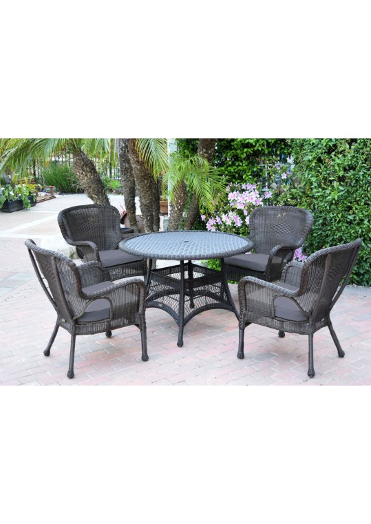 5pc Windsor Espresso Wicker Dining Set with Steel Blue Cushions