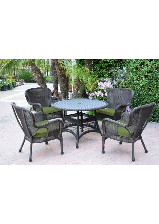 5pc Windsor Espresso Wicker Dining Set with Hunter Green Cushions