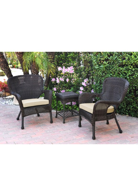 Windsor Espresso Wicker Chair And End Table Set With Ivory Chair Cushion