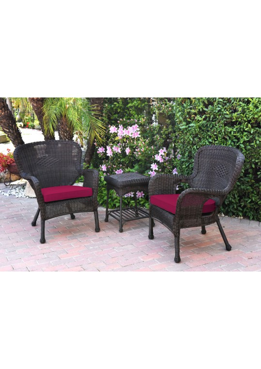 Windsor Espresso Wicker Chair And End Table Set With Red Chair Cushion