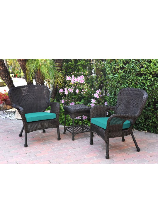 Windsor Espresso Wicker Chair And End Table Set With Turquoise Chair Cushion