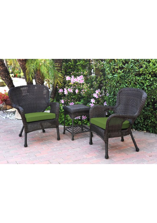 Windsor Espresso Wicker Chair And End Table Set With Hunter Green Chair Cushion