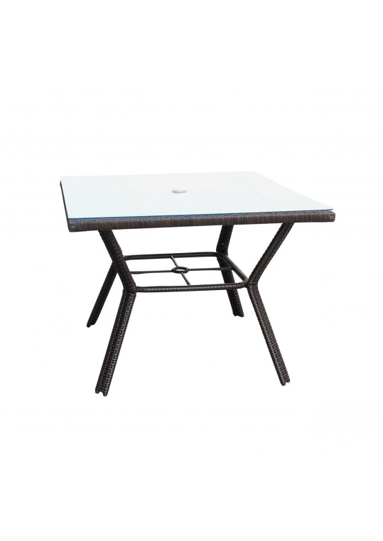Resin wicker Square dining table with 5MM tempered glass