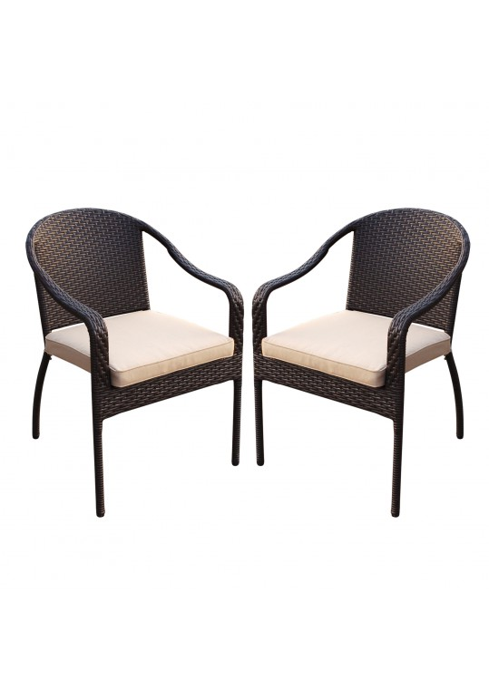 Set of 2 Cafe Curved Stacking Wicker Chairs - Tan Cushions