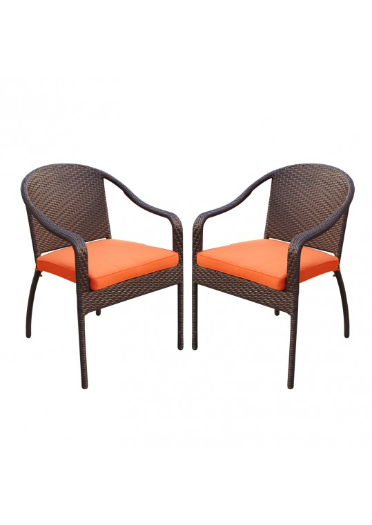 Set of 2 Cafe Curved Stacking Wicker Chairs - Orange Cushions